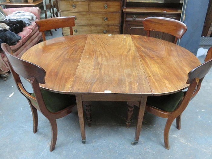 ANTIQUE MAHOGANY DINING TABLE AND THREE CHAIRS PLUS ONE OTHER