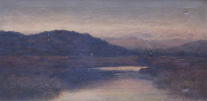 J S FOX, FRAMED OIL ON CANVAS DEPICTING A LAKESIDE SCENE, APPROXIMATELY 45c