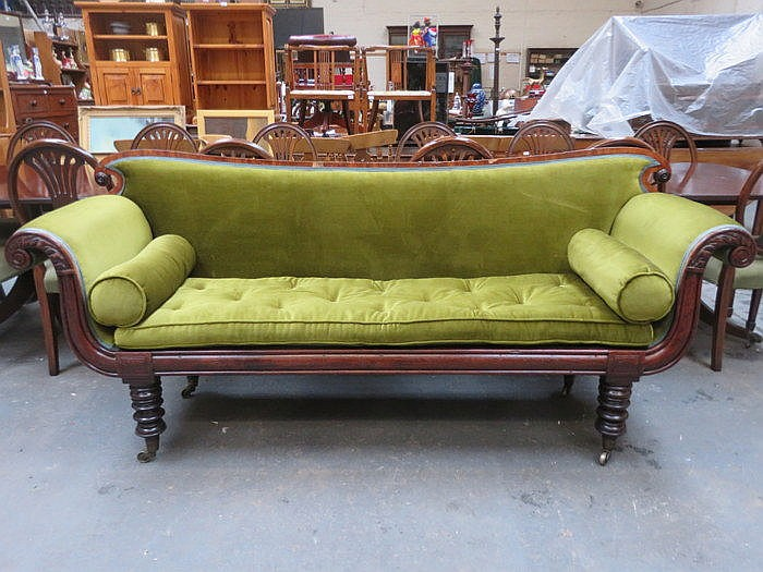 GREEN UPHOLSTERED VICTORIAN MAHOGANY FRAMED SALON STYLE SETTEE