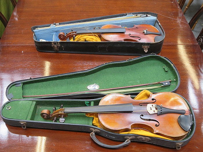 TWO CASED SCHOOLBOY VIOLINS WITH BOWS, FOR RESTORATION