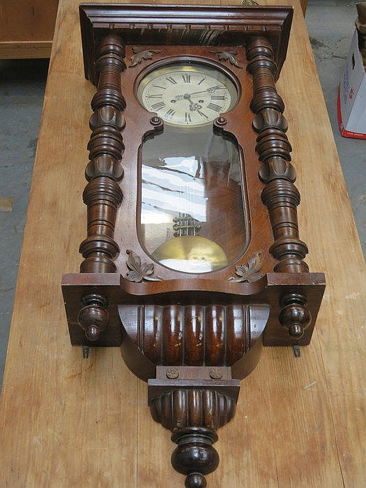 MAHOGANY CASED VIENNA WALL CLOCK