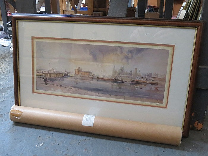 JENNY HOLLAND, PENCIL SIGNED LIMITED EDITION PRINT- THE ALBERT DOCK IN LIVE