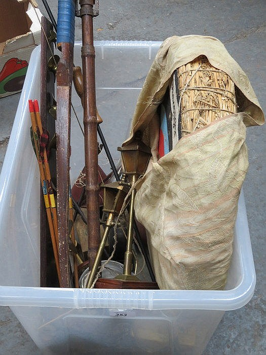 SUNDRY LOT INCLUDING BOW AND ARROW WITH BOARD, ETC.