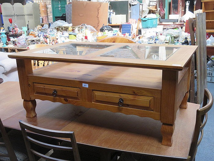 PINE GLASS TOPPED COFFEE TABLE WITH TWO DRAWERS