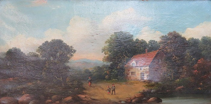 FRAMED OIL ON CANVAS DEPICTING A COUNTRY COTTAGE SCENE, SIGNED W WEBB, APPR