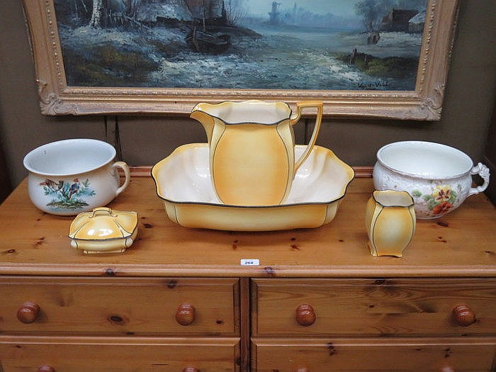 ROYAL WINTON CERAMIC JUG AND BOWL SET PLUS TWO CHAMBER POTS