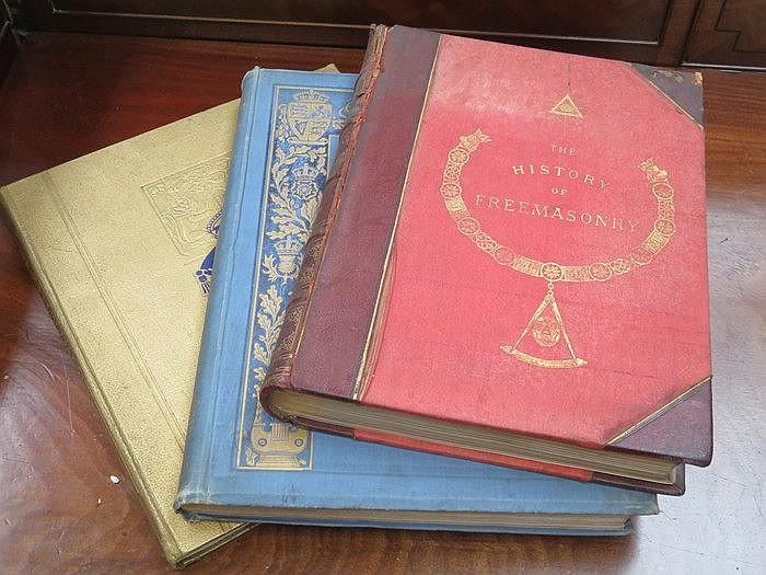 THREE VOLUMES INCLUDING THE HISTORY OF FREE MASONRY PLUS TWO COMMEMORATIVE