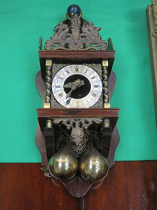 ORMOLU MOUNTED WOODEN CASED WALL CLOCK WITH BRASS WEIGHTS
