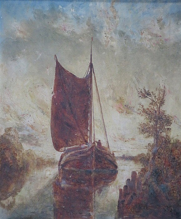 W J J C BOND, FRAMED OIL ON CANVAS DEPICTING A BOAT WITHIN A RIVER SCENE, A