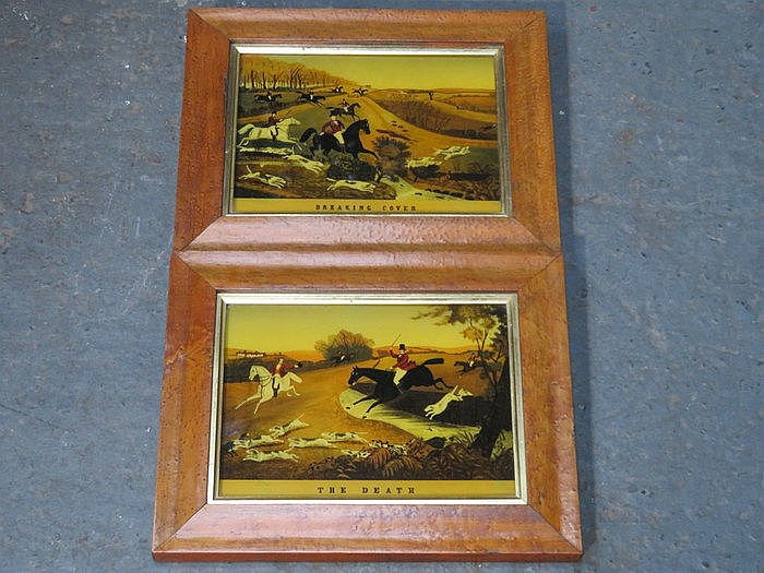 PAIR OF EARLY FRAMED HUNTING PRINTS- THE DEATH AND BREAKING COVER, APPROXIM