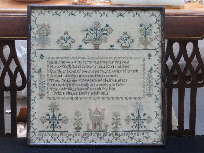 EARLY/MID 19th CENTURY FRAMED SAMPLER- FRANCES HORNE, MAY 1838, AGED 12, AP