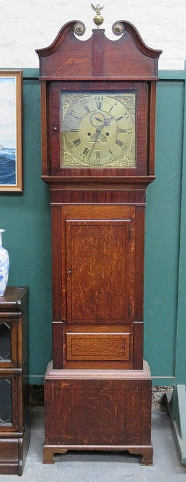 OAK AND MAHOGANY CASED LONG CASED CLOCK WITH ORMOLU MOUNTS AND BRASS DIAL,