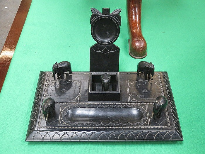 EBONISED AFRICAN STYLE DESK STAND