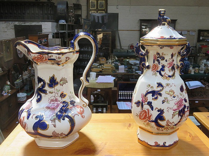 LARGE MASONS IRONSTONE STORAGE JAR WITH COVER AND LARGE JUG