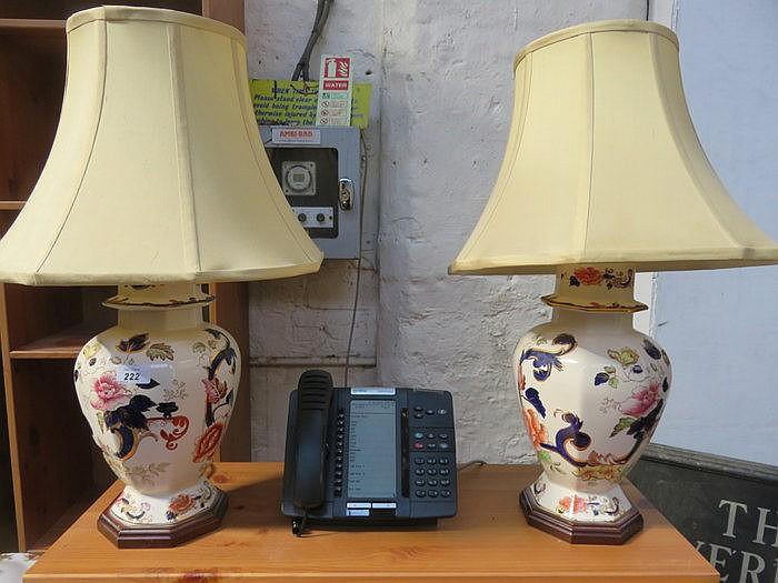 PAIR OF MASONS IRONSTONE CERAMIC TABLE LAMPS