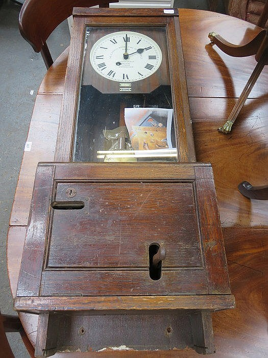 OAK CASED 'THE GLEDHILL-BROOK' TIME RECORDER WITH DOUBLE FUSEE MOVEMENT
