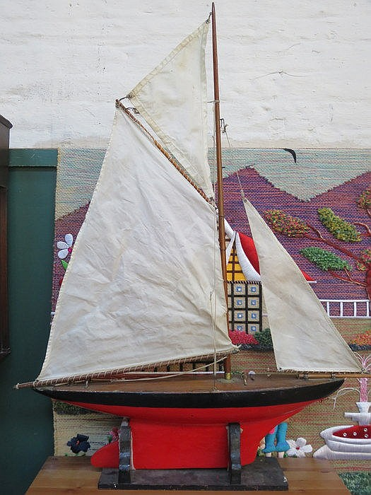 HANDPAINTED WOODEN YACHT, POSSIBLY BY THE START YACHT COMPANY, BIRKENHEAD,
