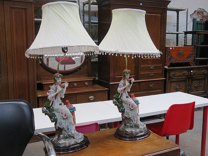 PAIR OF DECORATIVE RESIN FIGURE FORM TABLE LAMPS AND SHADES (AT FAULT)