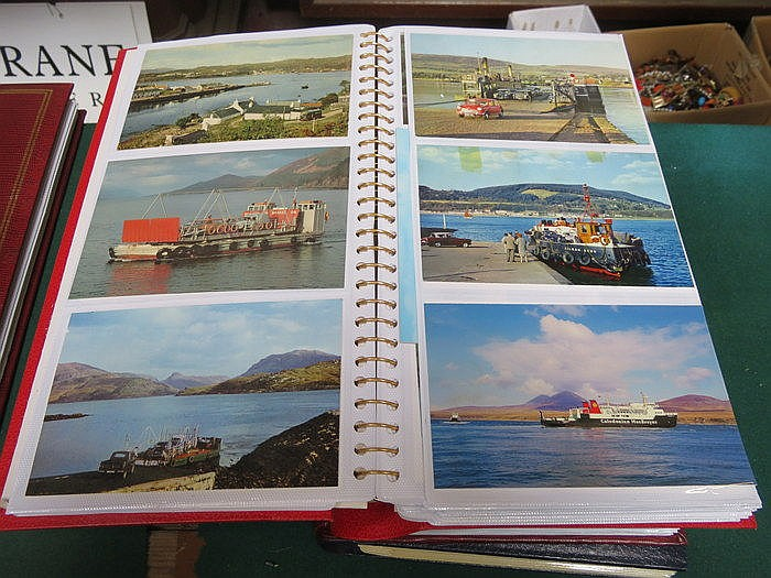 THREE ALBUMS OF POSTCARDS INCLUDING VARIOUS LINERS, MILITARY SHIPS, HOVERCR