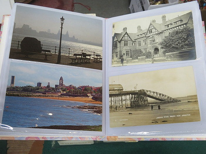 TWO ALBUMS OF VARIOUS POSTCARDS INCLUDING BRIDGES AND THE WIRRAL PLUS THREE