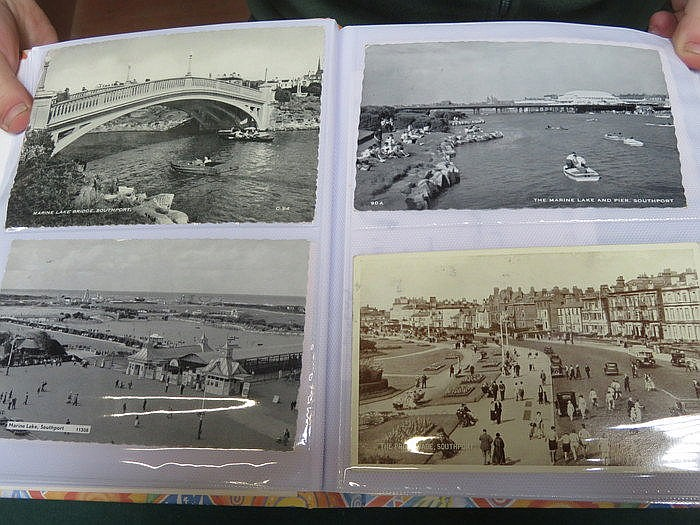 FOUR ALBUMS OF VARIOUS POSTCARDS INCLUDING RAILWAY STATIONS, BIRKENHEAD, AI