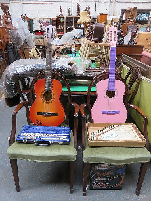 TWO ACOUSTIC GUITARS AND BOXED PRACTICE AMP, ZITHER AND CASED FLUTE