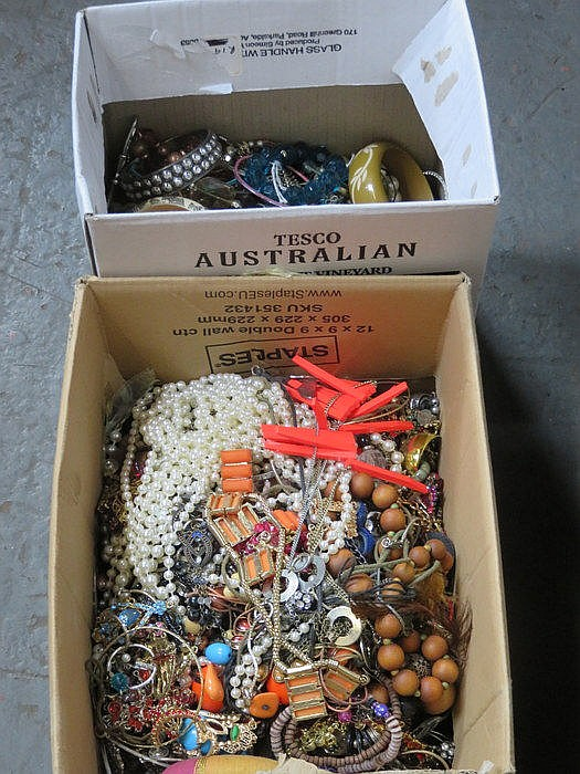 TWO BOXES OF VARIOUS COSTUME JEWELLERY