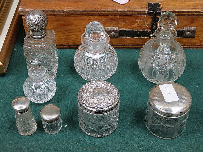 PARCEL OF SILVER TOPPED GLASS DRESSING JARS PLUS OTHER JARS