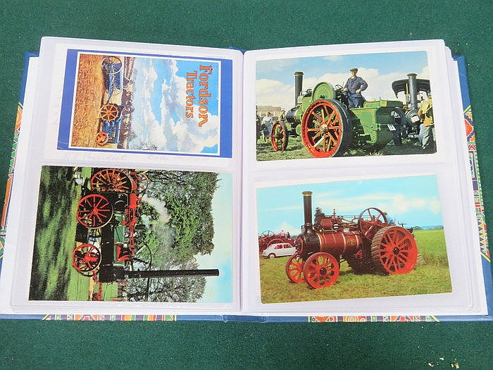THREE ALBUMS OF VARIOUS POSTCARDS INCLUDING LITTLE RAILWAYS, BUSES AND TRAC