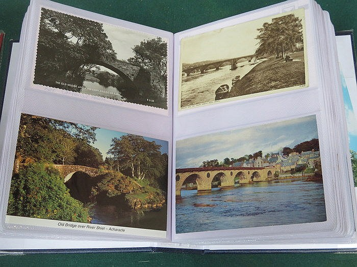 THREE ALBUMS OF VARIOUS POSTCARDS INCLUDING SONG POEMS, BRIDGES PLUS SILK C