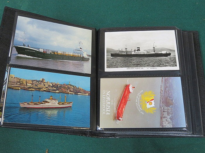 THREE ALBUMS OF VARIOUS POSTCARDS INCLUDING SHIPS AND LIGHTHOUSES, ETC.