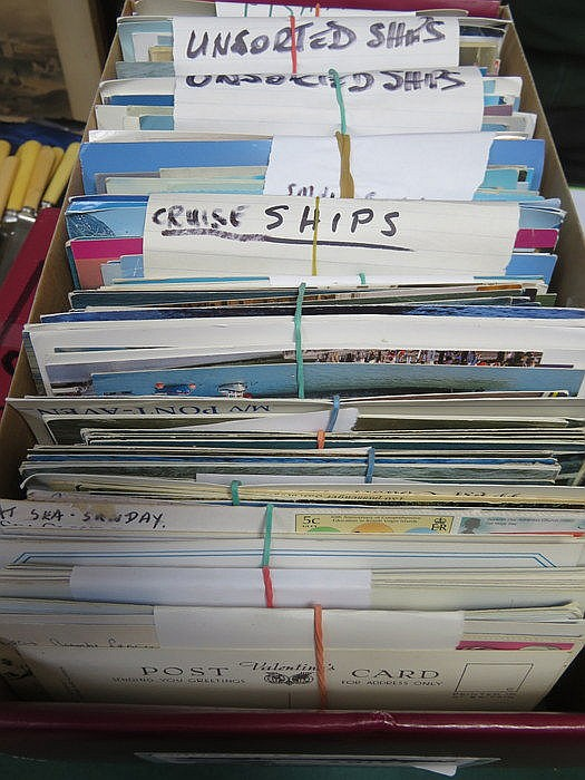 THREE BOXES OF VARIOUS POSTCARDS INCLUDING COUNTIES OF ENGLAND, SHIPS, CANA