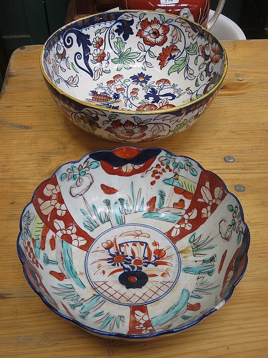 TWO ORIENTAL STYLE CERAMIC BOWLS (ONE AT FAULT)