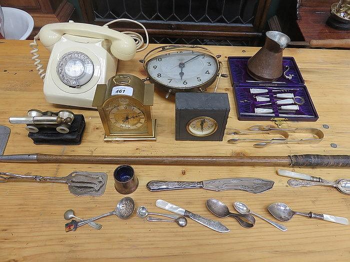 MIXED LOT INCLUDING BAKELITE TELEPHONE, OPERA GLASSES, GOLF CLUB, VARIOUS C