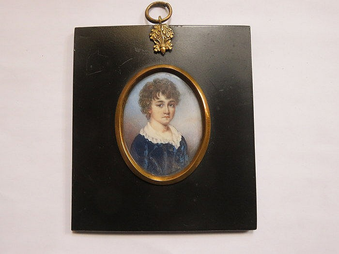 EBONISED OVAL MINIATURE PORTRAIT- WILLIAM WARD