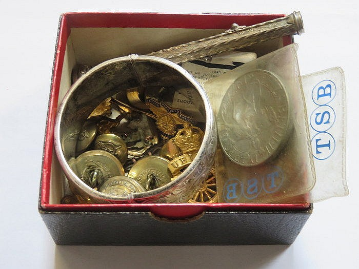 PARCEL OF MILITARY BUTTONS, SILVER SNAP BANGLE AND PENCIL, ETC.