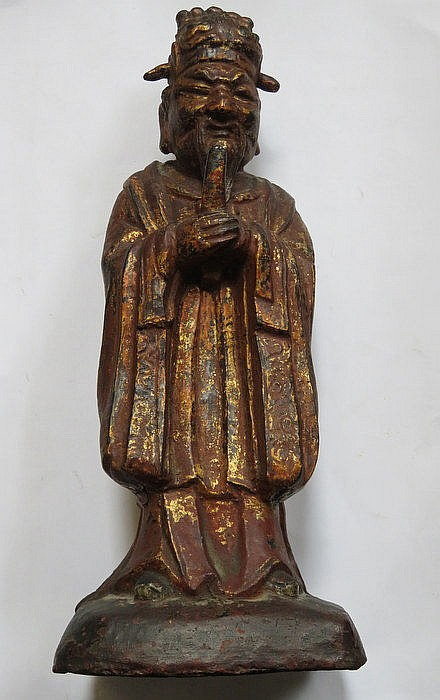 EARLY BRONZE FIGURE OF IMMORTAL WITH TRACES OF GILDED DECORATION (WORN), PO
