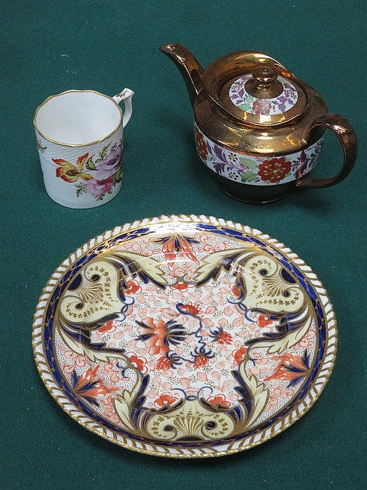 CROWN DERBY COFFEE CAN, EARLY GILDED DERBY STYLE PLATE AND COPPER LUSTRE TE