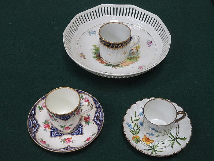 PIERCEWORK DECORATED HANDPAINTED BOWL, TWO FLORAL CUPS AND SAUCERS PLUS COF