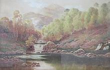 J LOCKHART BARKER, GILT FRAMED WATERCOLOUR- HEART OF THE TROSSACHS, APPROXI