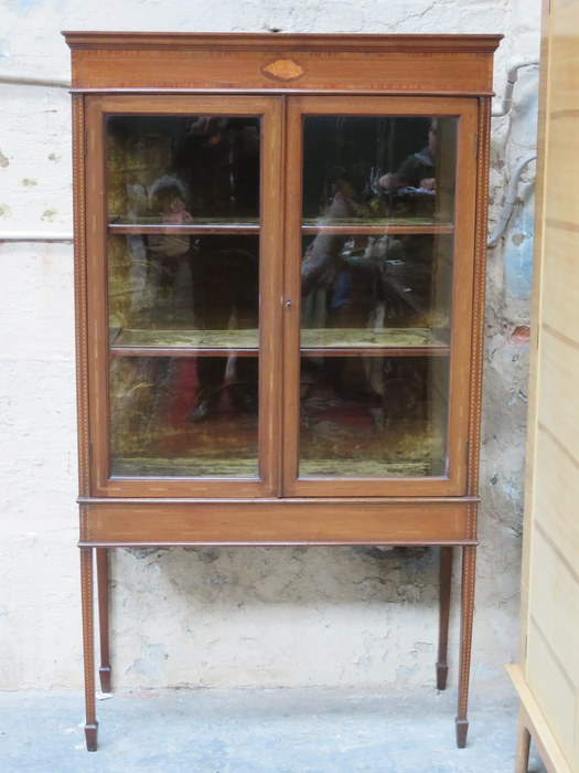 antique cabinets antique mahogany inlaid two door glazed display cabinet 10630