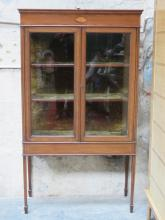 ANTIQUE MAHOGANY INLAID TWO DOOR GLAZED DISPLAY CABINET