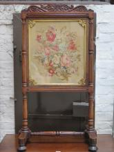 VICTORIAN CARVED MAHOGANY FRAMED AND GILDED, EMBROIDERED FIRESCREEN