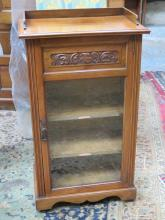 CARVED FRONTED MAHOGANY SINGLE DOOR GLAZED SIDE CABINET