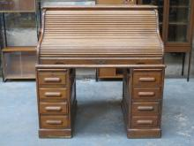 OAK ROLL TOP WRITING DESK WITH FITTED INTERIOR