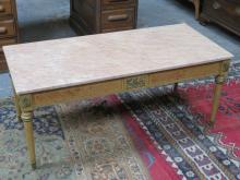 PRETTY FRENCH STYLE INLAID AND ORMOLU MOUNTED MARBLE TOPPED COFFEE TABLE