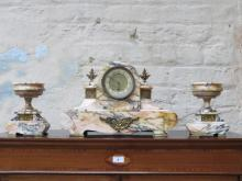 DECORATIVE ORMOLU MOUNTED FRENCH STYLE MARBLE EFFECT CLOCK AND GARNITURE SET