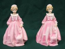 TWO ROYAL WORCESTER GLAZED CERAMIC FIGURES BY F G DOUGHTY- GRANDMOTHER'S DRESS, No 3081