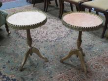 PAIR OF PRETTY FRENCH STYLE ORMOLU MOUNTED MARBLE TOPPED TRI-POD TALES