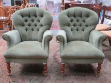 PAIR OF STUART JONES UPHOLSTERED BUTTON BACK ARMCHAIRS